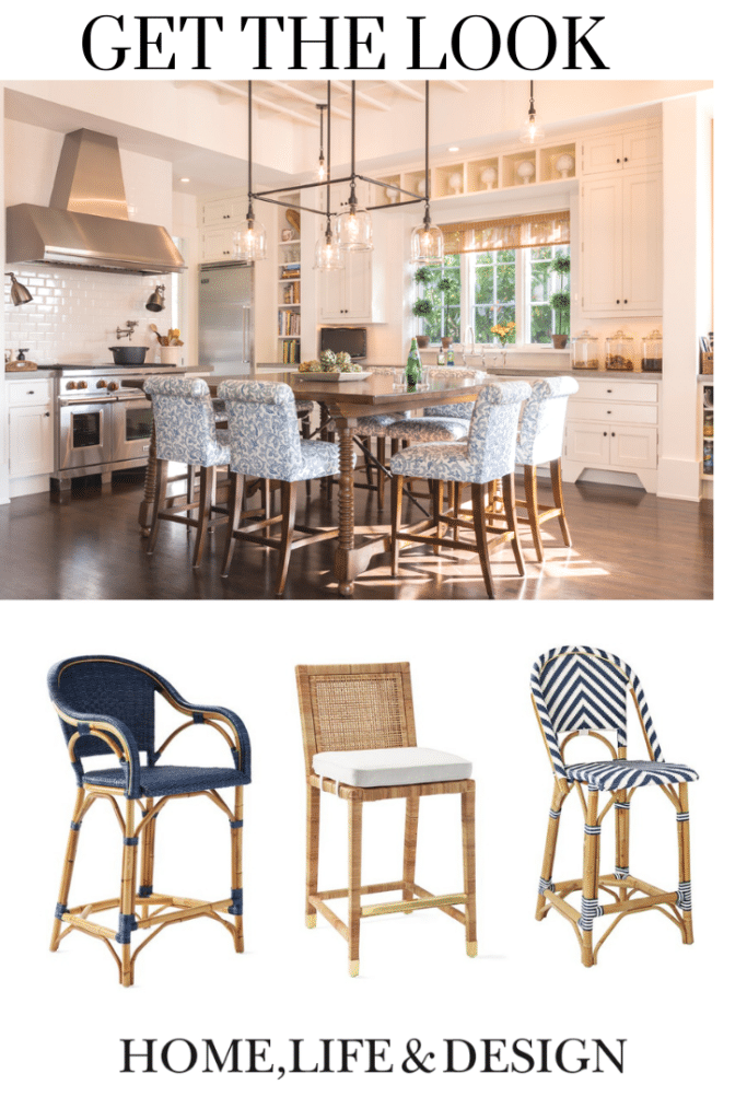 Traditional Coastal Kitchen Lok Island with Bar Stools Get the Look