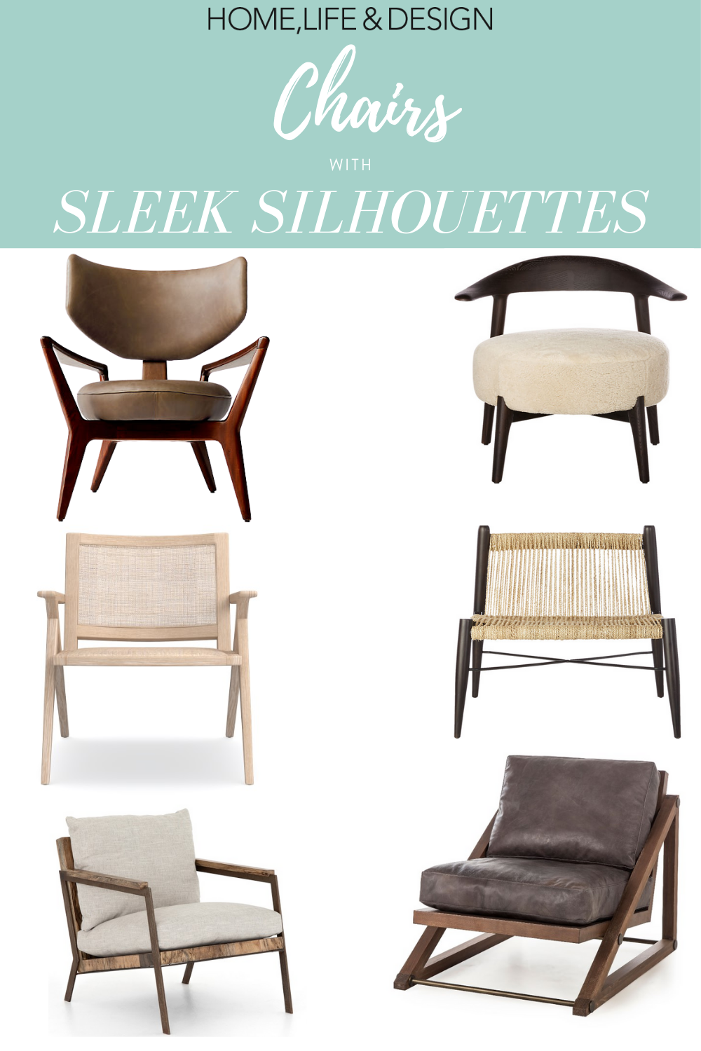 Six Sexy Chairs wth Sleek Silhoutetters Chairs
